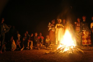 Villagers in Gbekeledu, Sierra Leone gather for their Fambul Tok reconciliation bonfire. Photo credit: Sara Terry, Catalyst for Peace.